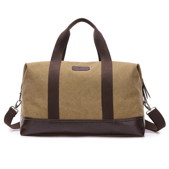 4b6098a5a5 Man Canvas Leather Men Travel Bags Carry on Luggage Bags Men Duffel Bags  Handbag Travel Tote