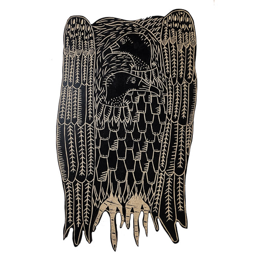 Two Headed Vulture Wood Art Wall Hanging