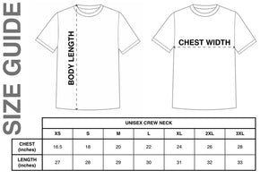 Cheer Squad We've Got Spirits Ghost Unisex Tee sizing chart