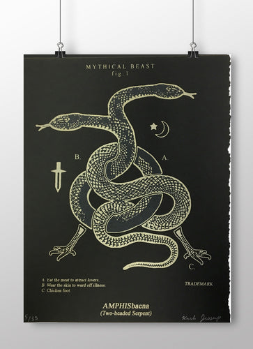 Amphisbaena Two Headed Serpent Snake Limited Edition Screen Print
