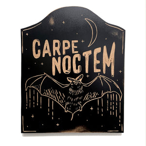 Carpe Noctem Seize the Night Wood Art Wall Hanging