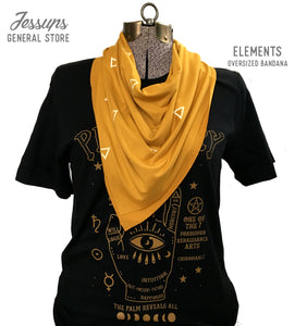 Elements Oversized Bandana Scarf Mustard Yellow