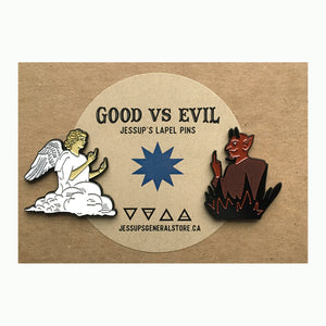 Good vs Evil - Angel and Devil Lapel Pin Set