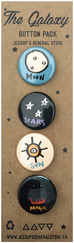 The Galaxy Button Pack - Moon, Stars, Sun, Magic