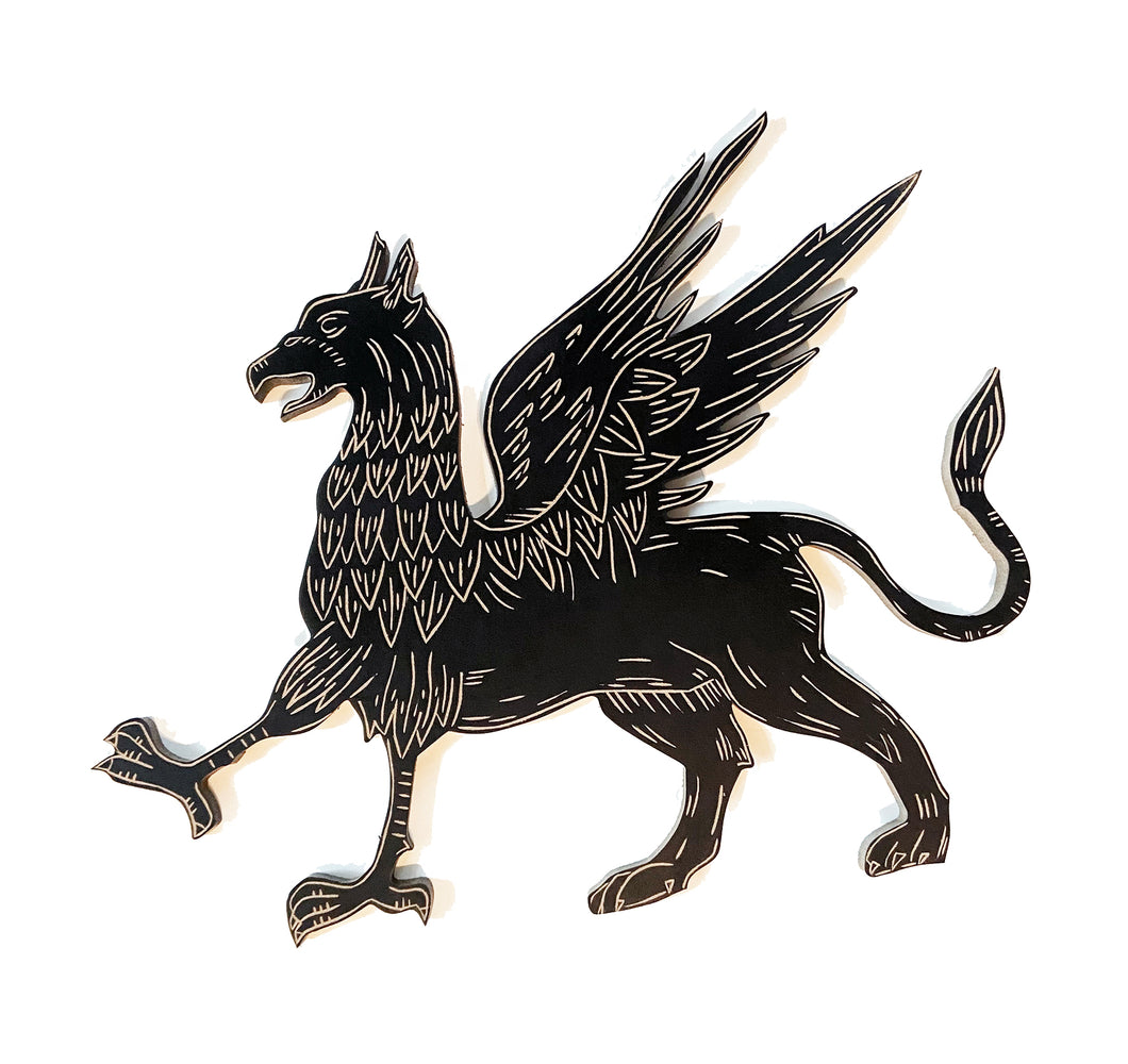 Griffin Wood Art Wall Hanging