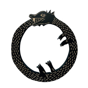 Wooden Ouroboros Snake.  The Ouroboros is typically a snake or dragon eating its own tail.  These symbolize the cycle of life, death and rebirth.