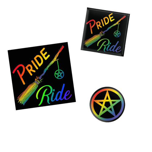Pride Ride Rainbow Broom Sticker and Buttons