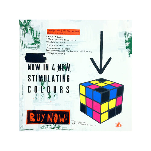 Screen Art Print of an advertisement for a Rubik's Cube
