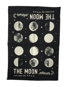 The Moon phases - Tea Towel (Black)