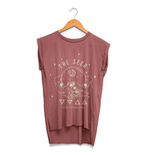 The Seer Crystal Ball Ladies Rolled Cuff Muscle Tee Front Mauve