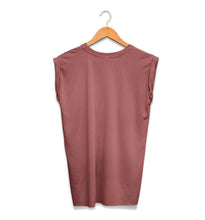 The Seer Crystal Ball Ladies Rolled Cuff Muscle Tee Back Mauve