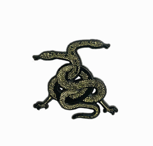Two Headed Serpent Snake Enamel Lapel Pin
