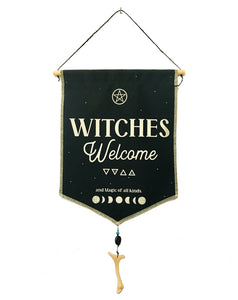 Witches Welcome Fabric Banner Tapestry Wall Hanging