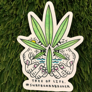 Surfboard Tree Of Life Sticker (3pk) Shipped