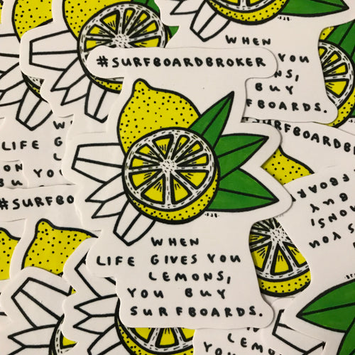 Surfboard Lemon Sticker (3pk) Shipped