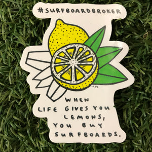Surfboard Lemon Sticker (4pk) Shipped