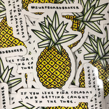 Surfboard Pineapple Sticker (3pk) Shipped