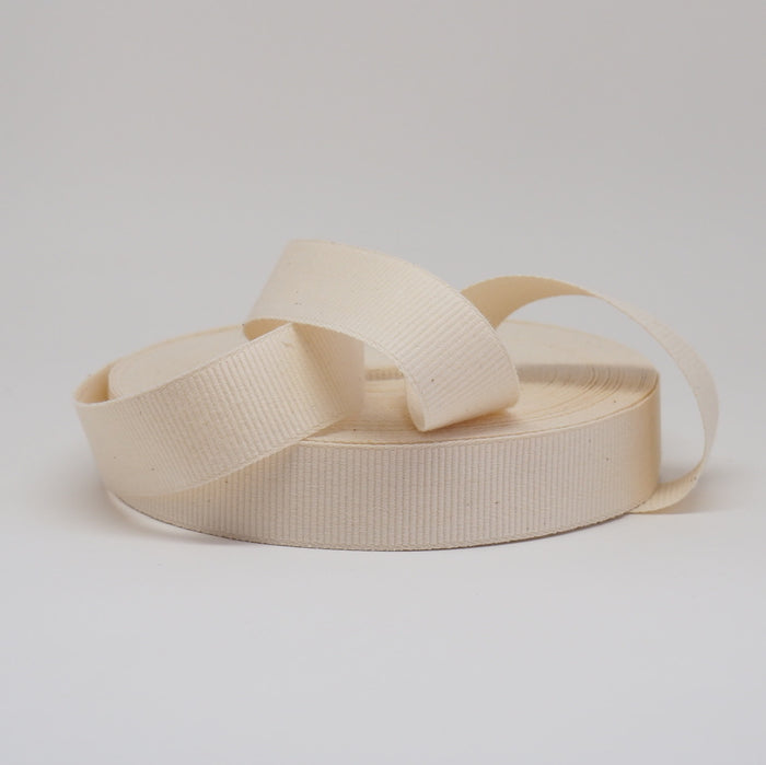 ORGANIC COTTON NARROW WEAVE RIBBON  - 25MM NATURAL