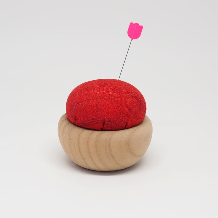 TULIP CHERRY WOOD PIN CUSHION -  AKABENI (VERMILION RED)