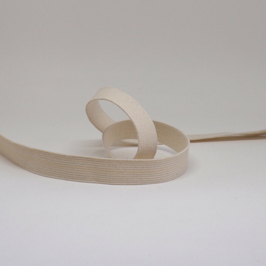 ORGANIC COTTON ELASTIC RIBBON - 18mm LIGHT STRETCH - NATURAL UN-DYED