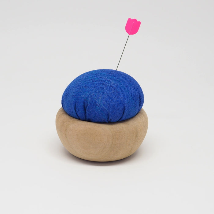 TULIP CHERRY WOOD PIN CUSHION -  RURI-IRO (BLUE)