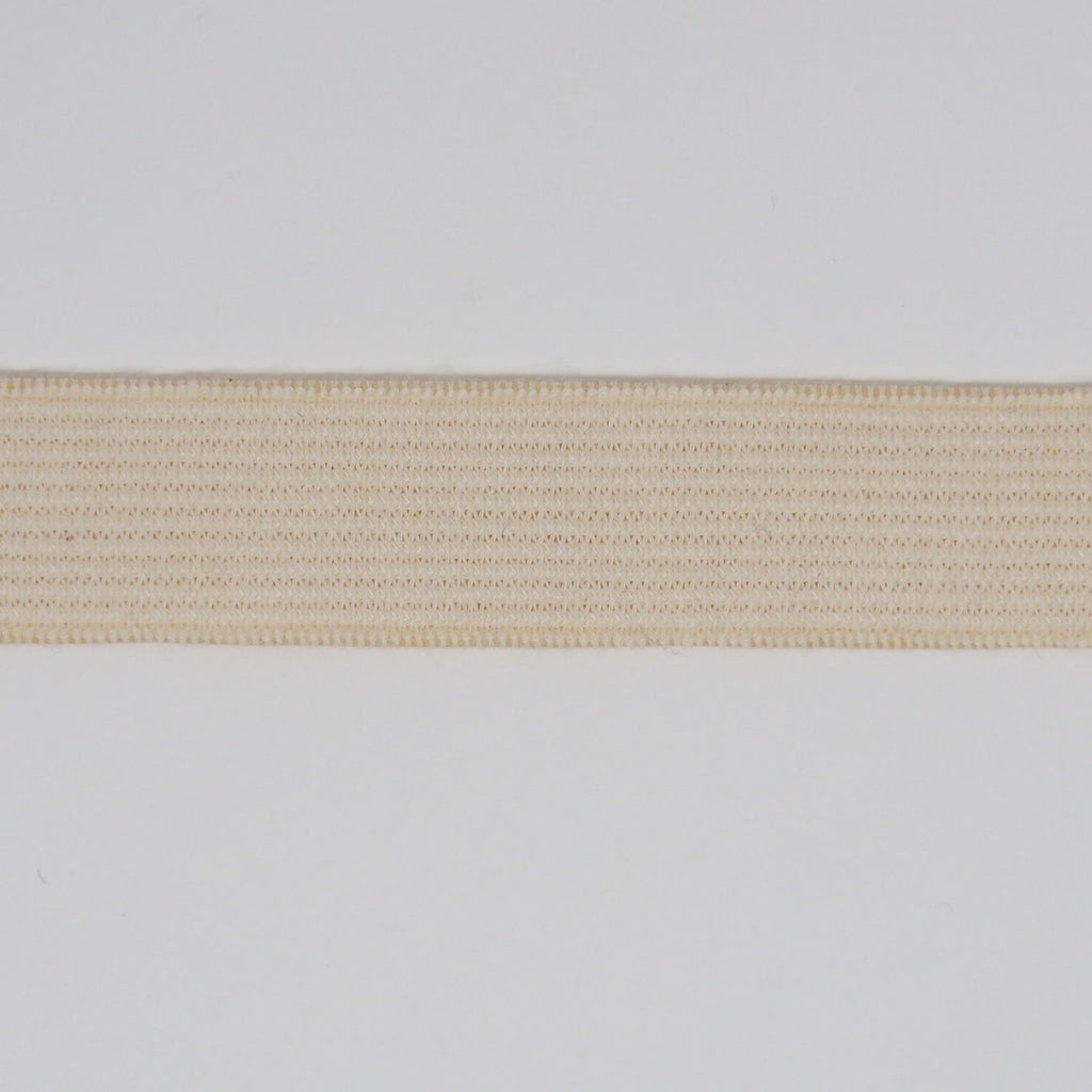ORGANIC COTTON ELASTIC RIBBON - 18mm HEAVY STRETCH - NATURAL UN-DYED