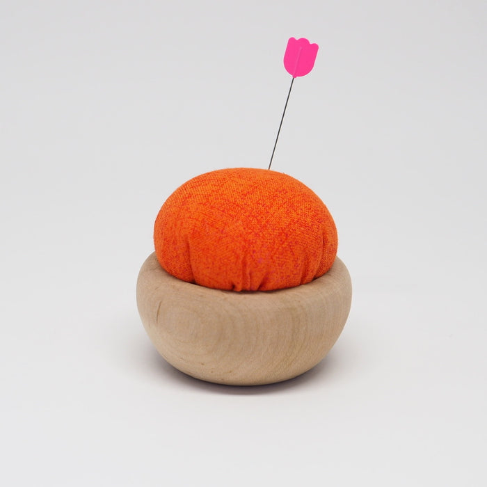 TULIP CHERRY WOOD PIN CUSHION -  AKANE-IRO (BRIGHT ORANGE)