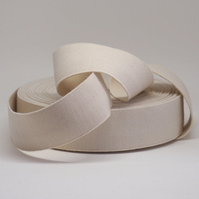 ORGANIC COTTON ELASTIC RIBBON - 40mm NATURAL UN-DYED