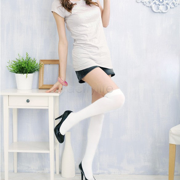 Hot Fashion Over The Knee Socks Thigh High Stockings Women Sexy Cotton Thinner Stocking White 36