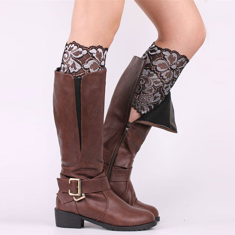 Multicolor Women Warmers Lace Boot Cuffs Women Girls Leg Warmers Stretch Flower Printed Design Boot Socks Boot Covers