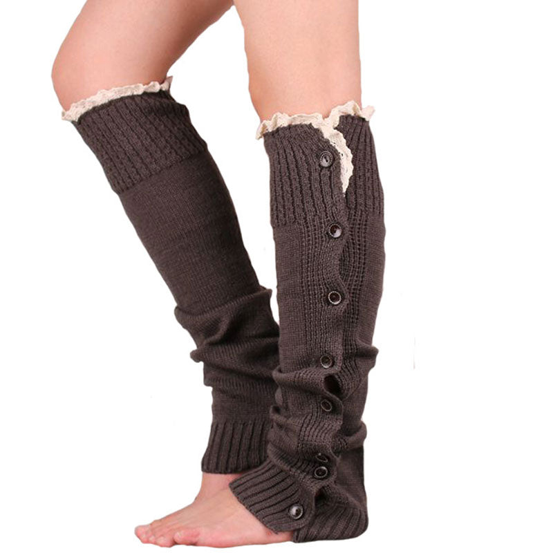 Women's Crochet Knitted Stocking 2015 Button Lace Leg Warmers Trim Legging Boot Knee Length Stockings Big Size