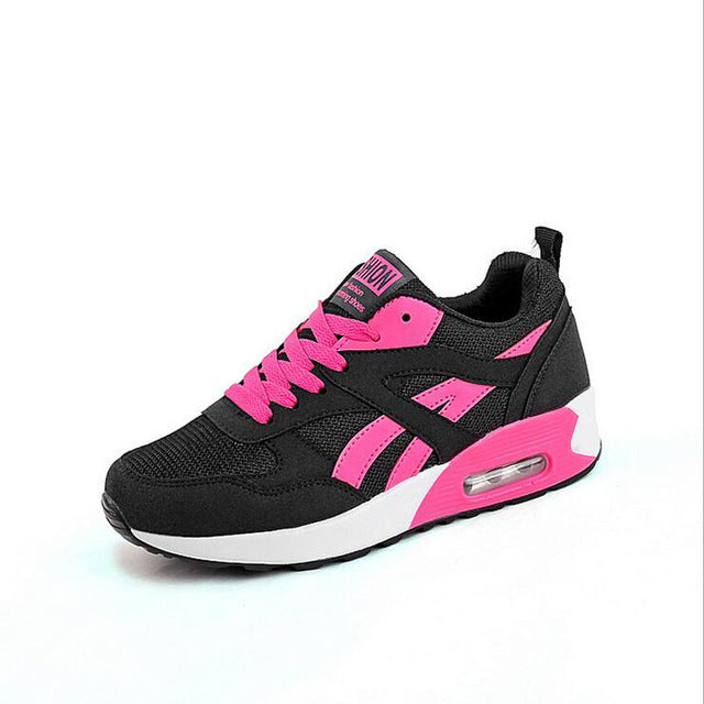 Hot Air Breathable Women Running Shoes Girl Ladies Comfortable Leather Platform Sport Shoes Outdoor Movement Female
