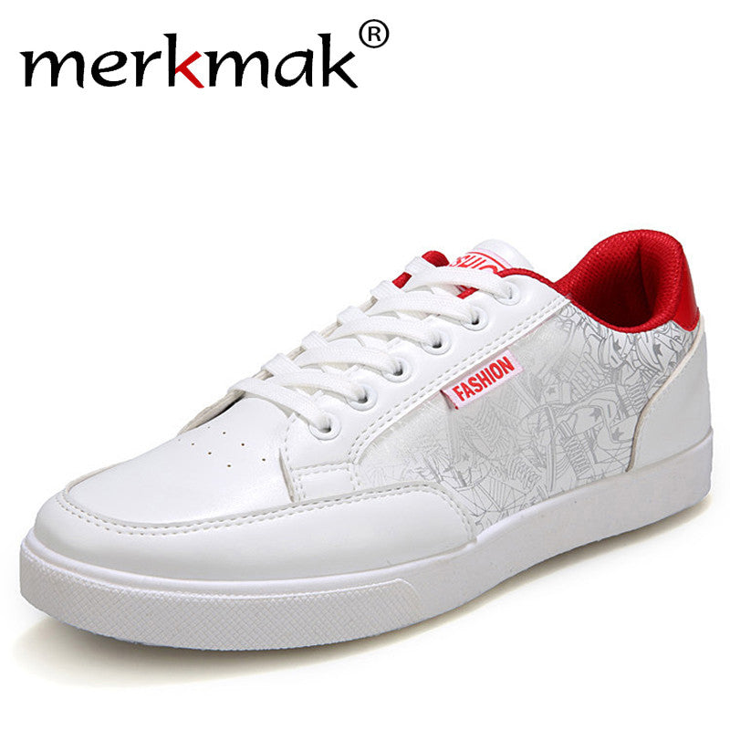 spring men casual shoes man PU leather fashion mens shoes comfortable men's flats white shoes in
