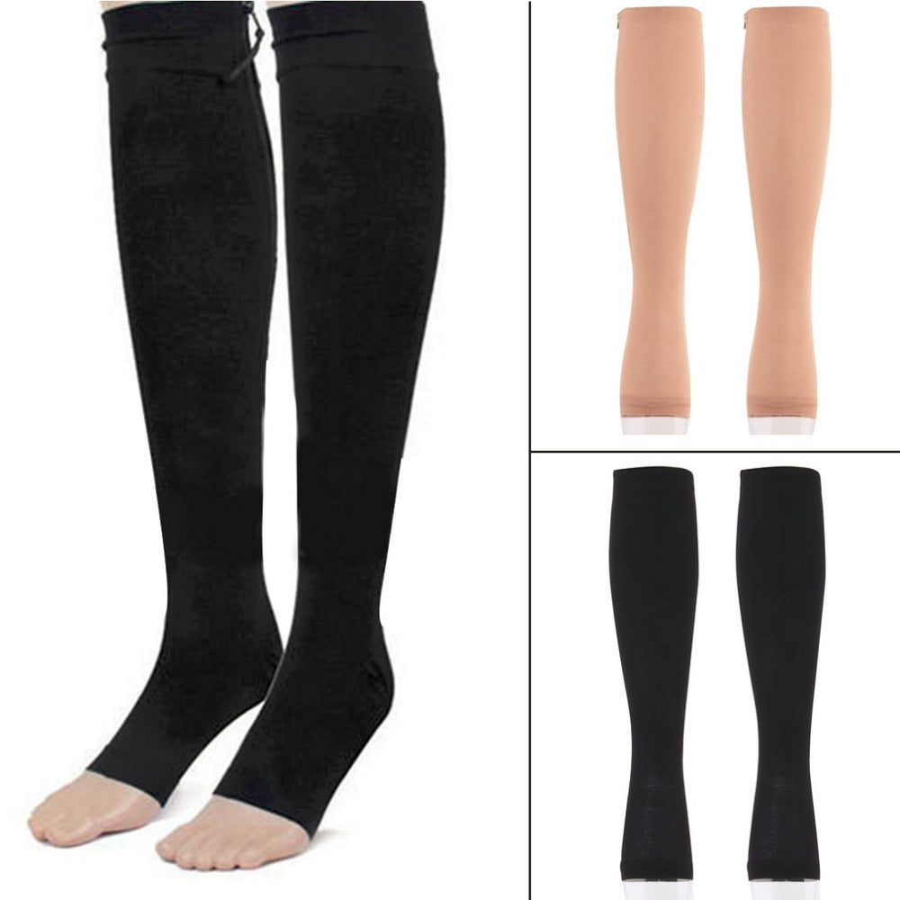 2 Travel Sports Stockings Miracle Socks Antifatigue Compression Stockings Soothe Achy Unisex Knee Socks Supports Open Toe Zipper