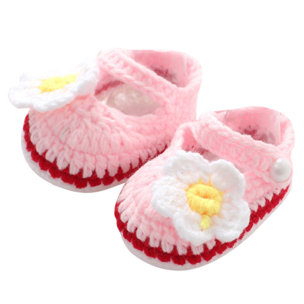 Baby Girl Shoes Toddler Princess Flower First Walkers Shoes For Kids Girls born Prewalker Soft Soled Shoes Knitting Footwear