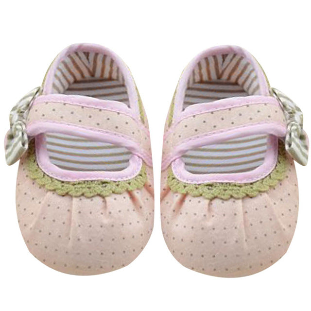 Baby Girl Shoes Prewalker Lace Bowknot Shoes Toddler Anti-Slip Shoes For Girls Kids First Walkers Pink Sneakers