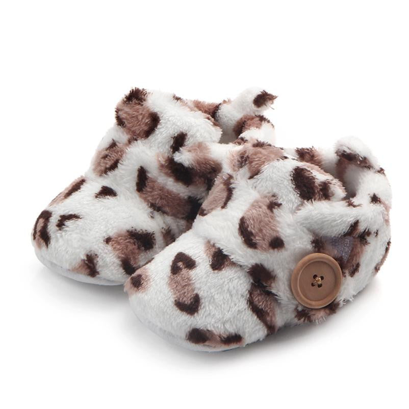 Winter Toddler baby First Walkers shoes Round Toe Flats Soft Slippers Shoes Leopard Print Baby Boys Girls Shoes