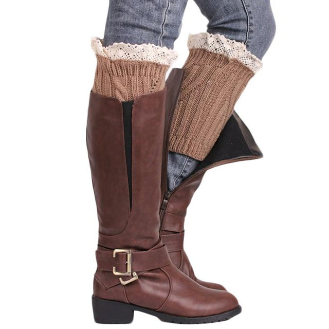 1 Pair Women Lace Crochet Knitted Leg Warmer Solid Color Boot Cuffs Winter Warm Boot Socks