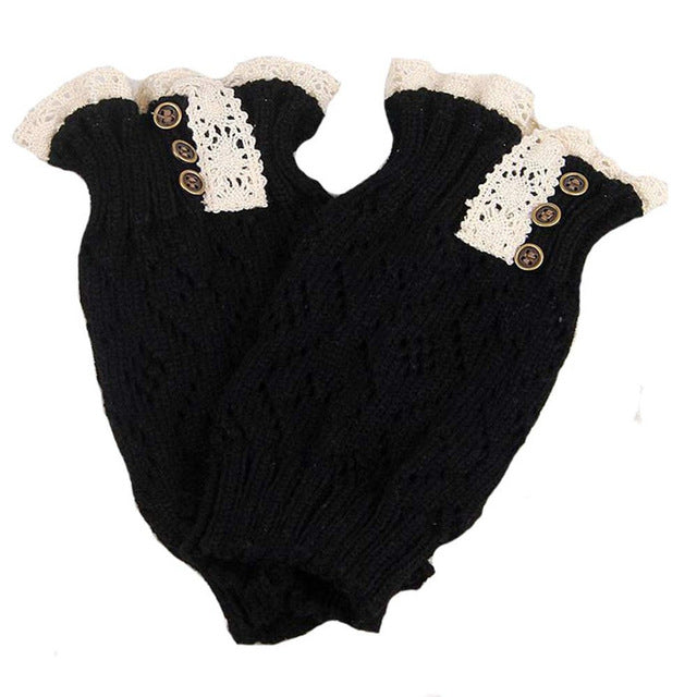 Womail Fashion Women winter Bowknot Boot Cuffs Knit Leg Warmers Lace Stretch Boot Leg Cuffs Boot Socks Acrylic For Adult