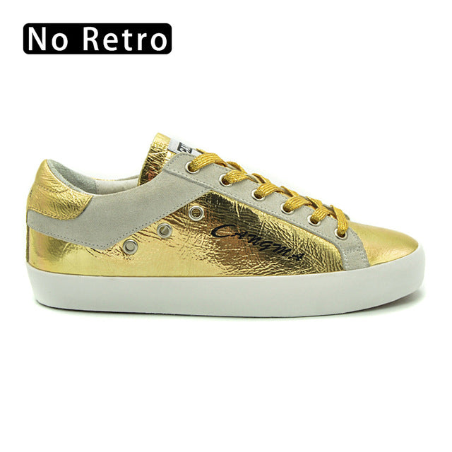 CANGMA Platform Sneakers Shoes Women Shoes Brand Girls Gold Patent Leather Flats Cow Suede Female Retro Footwear Top Quality