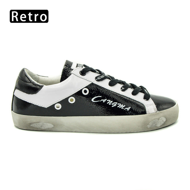 CANGMA Girls Fashion Retro Shoes Sneakers Women Spring Autumn Handmade Black Patent Leather Low Flats Female Shoes Footwear