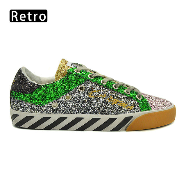 CANGMA Famous Brand Shoes Stylish Ladies Sequined Flats Black Silver Glitter Sneakers Women Footwear Female Shoes Zebra Pattern