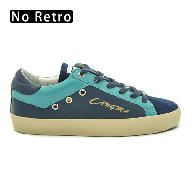 CANGMA High Quality Branded Female Casual Shoes Vintage Navy Blue Genuine Leather Sneakers For Girls Flats est Women Footwear