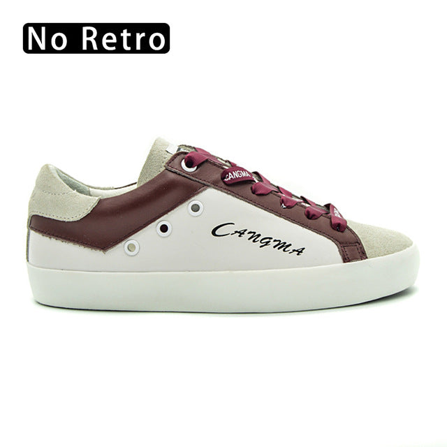 CANGMA Latest Fashion Footwear Female White Shoes Wine Genuine Leather Sneakers Lace-up Flats Woman Platform Shoes Plus Size