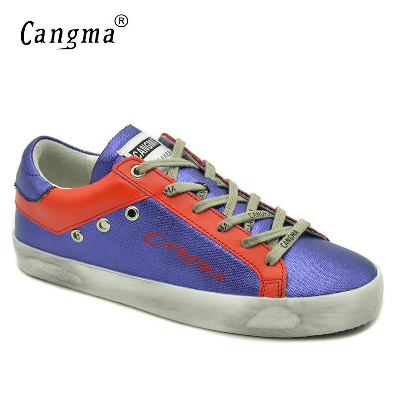 CANGMA Shoes For Girls Purple Casual Shoes Women Sneakers Brand Waterproof Canvas Flats Genuine Leather Lace-up Female Footwear
