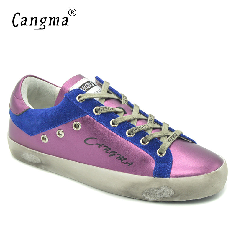 CANGMA Brand High Quality Original Sneakers For Girls Purple Casual Shoes Autumn Breathable Footwear Patent Leather Women Flats