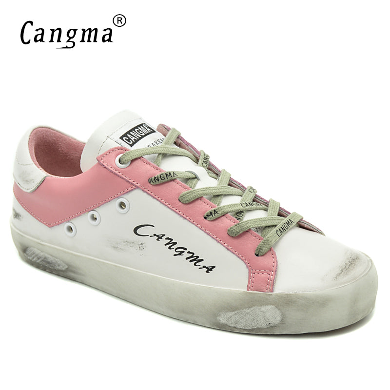 CANGMA Ladies Brand Trainers Shoes Women Sneakers Genuine Leather Shoes Casual Female Adult Breathable Shoes Girl Flat Footwear