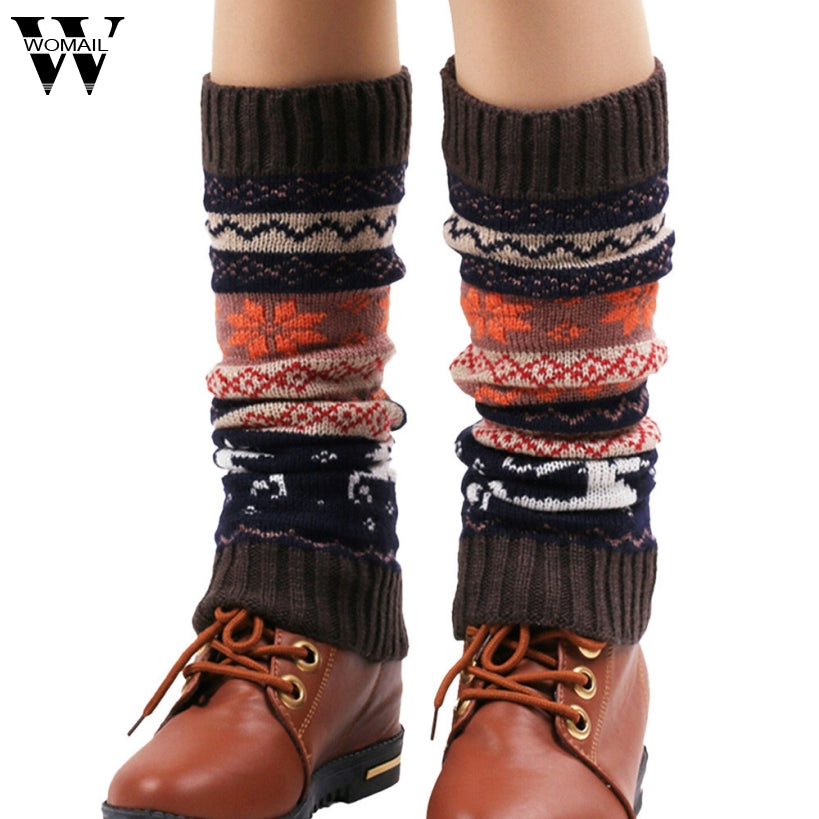 Amazing Hot Christmas Deer Patchwork Women's Winter Warm Knitted Leg Warmers Boot Socks