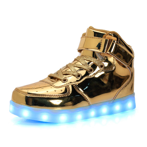 2017 New Fashion Led Shoes USB Luminous sneakers Unisex 7 Colors Glowing Flats High-top Adults Lumineuse Men Shoes size 34-46