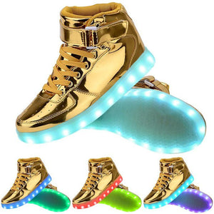 2017 hot sale Big Size 34-46 USB LED Light Shoes Unisex Glowing Fashion Led Shoes Flats High-top Adults Lumineuse Men Shoes